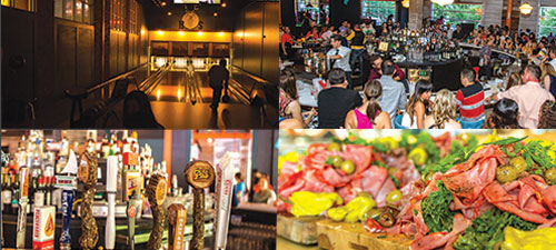 A montage of images from Punch Bowl Social, Bowling, Beer Tap, Sandwich