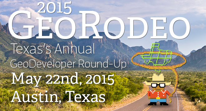 A banner for the 2015 GeoRodeo, Cowboy Nerd in front of Chisos Mountains